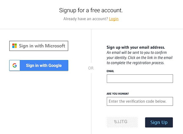 Sign Up for Approved Contact - Use your Google or Office 365 Single Sign On